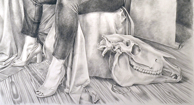 """Detail of  Hippolyte #3 ,Amanda Kirkhuff, 2016,graphite on paper,60""""x48""""  Amanda Jebrón Kirkhuff was born in Seattle, Washington in 1982. She attended Seattle Central Community College where she was trained in oil painting and figure drawing, and ultimately assisted in earning a scholarship to attend The San Francisco Art Institute. Kirkhuff graduated with a BFA from SFAI in 2006. For 12 years Kirkhuff lived in San Francisco and New York City, participating in underground queer nightlife and activism. She worked with many civil rights and social change organizations, and her working-class background, community, and values continue to inform her work. Kirkhuff currently lives and works in Seattle. Contact info can be found at  www.amandakirkhuff.com ."""
