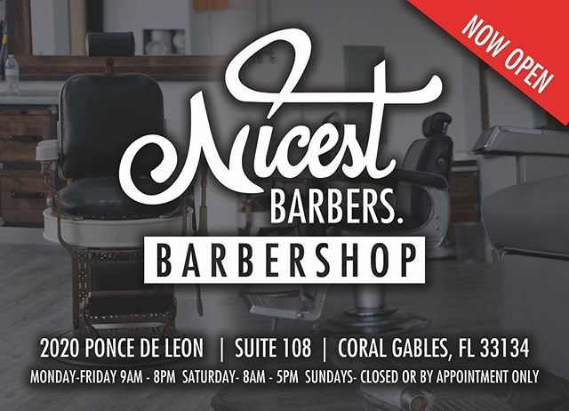 We are proud to announce we have a fully operational barbershop in the heart of Coral Gables. We are officially the nicest in the state. Make sure to book your appointments by clicking the BOOK button on the bio. #NicestBarbers #BarbershopInCoralGables #CoralGables #MerrikPark #PonceDeLeon #SouthMiami #Miami #Wynwood #Brickell #DowntownMiami #Doral