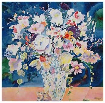 Lizanthus Bouquet     Giclée Print     21.25 x 20.75 - $360