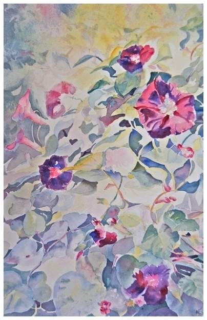 Morning Glories Original     14.25 x 18.75 - $440