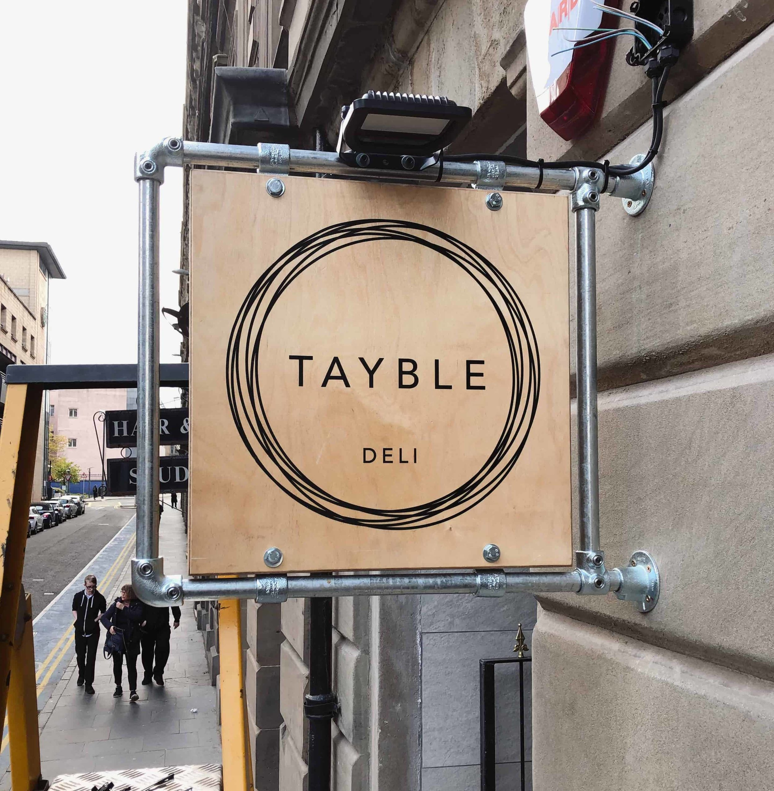 Tayble Deli Bespoke Custom Sign, Birch Plywood and Scaffolding