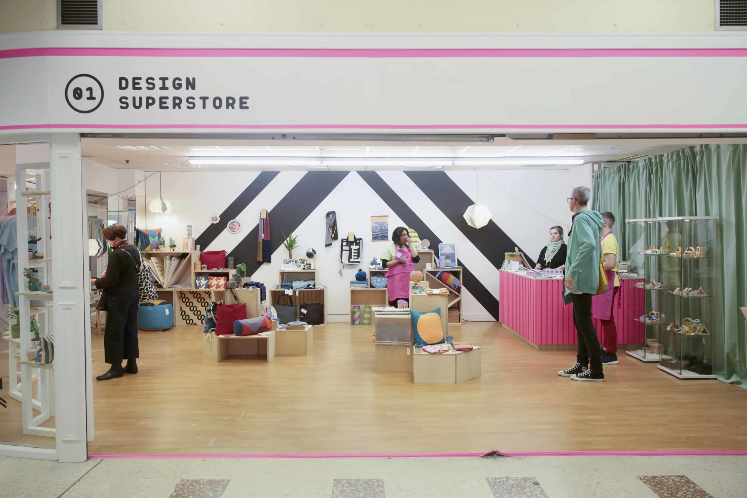 The Design Superstore, designed and installed as part of Dundee Design Festival 2019, at the Keiller Centre in Dundee. Designed in part with Tea Green Events, and Agency of None.