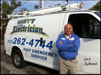 Scott The Electrician    Les Dykens   5801 Kessler Lane, Ste 203, Merriam, KS 66203   913-403-1800    ldykens@yahoo.com    www.scotttheelectrician.com