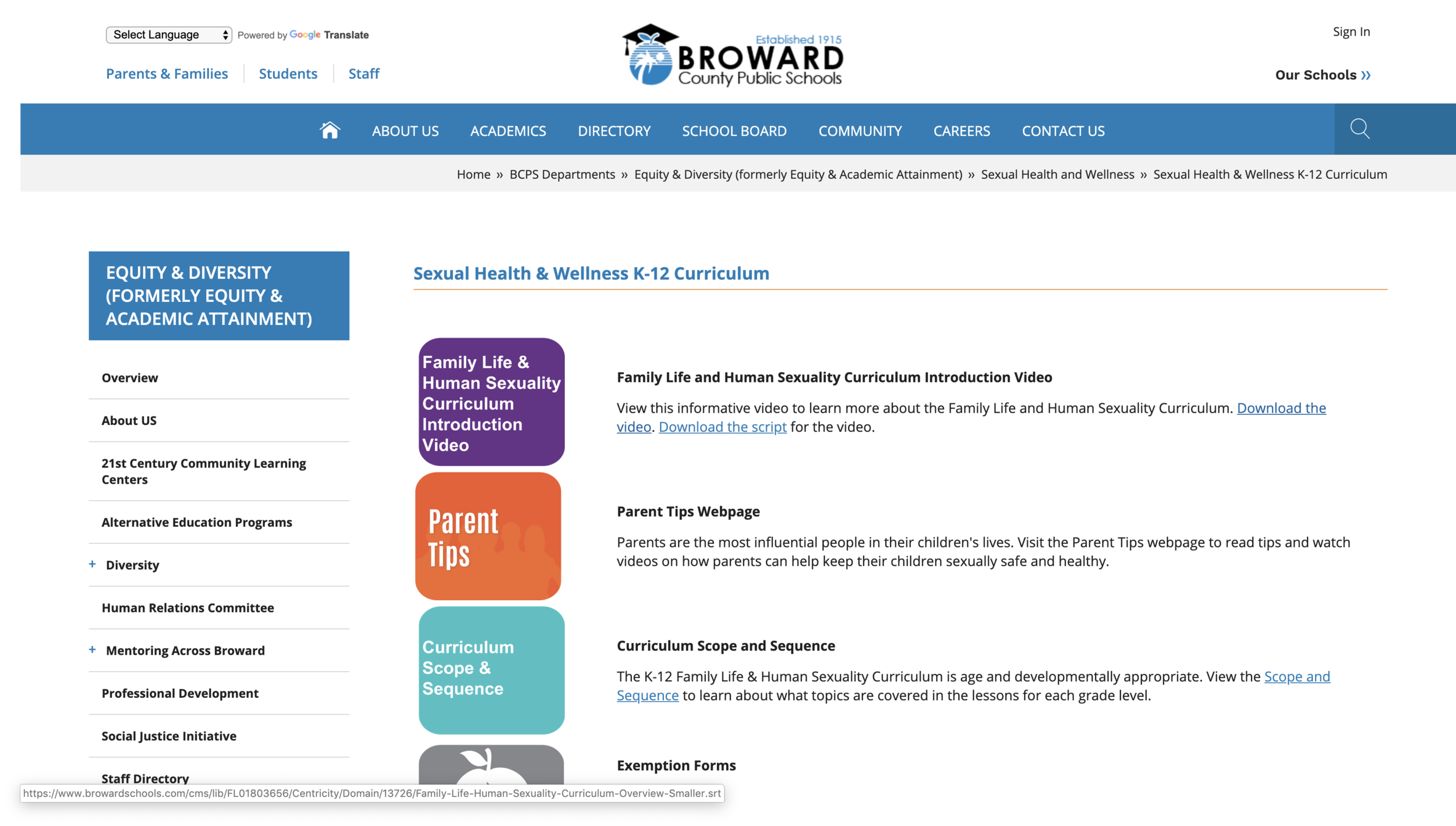Broward County Schools Sexual Health & Wellness K-12 Curriculum -