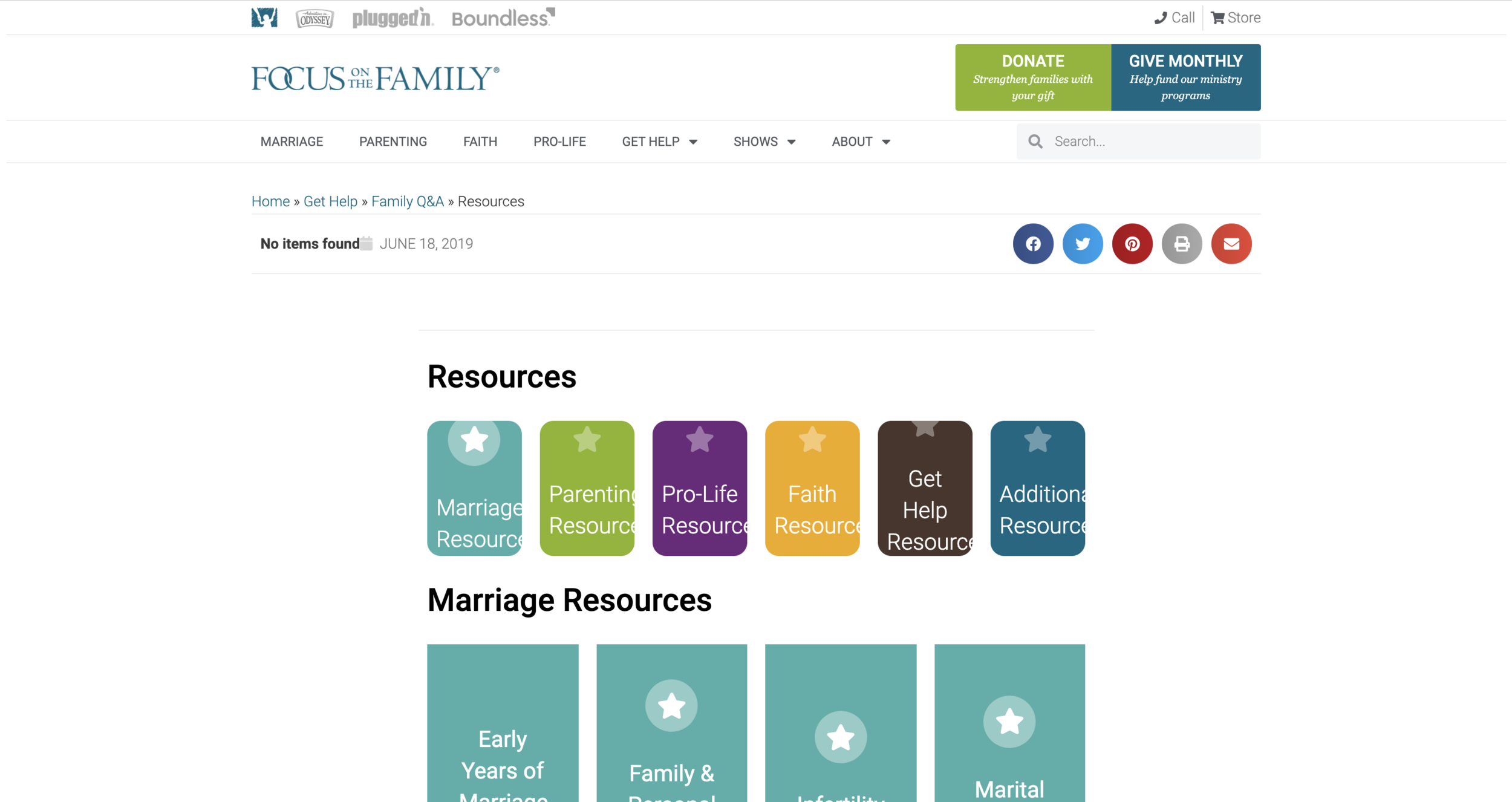 Focus on the Family Resources Page -