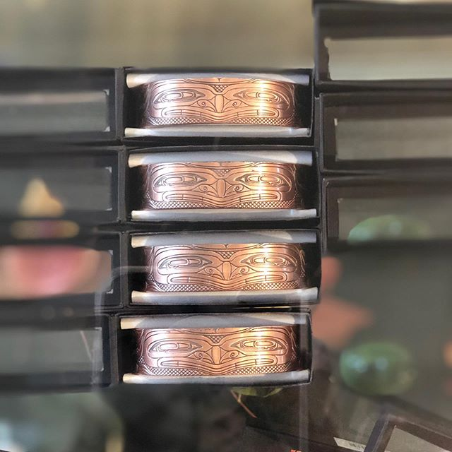 Bracelets for days! Come and check out what we have in store. #indigenous #art #copper #carving #giftstore #nativeart