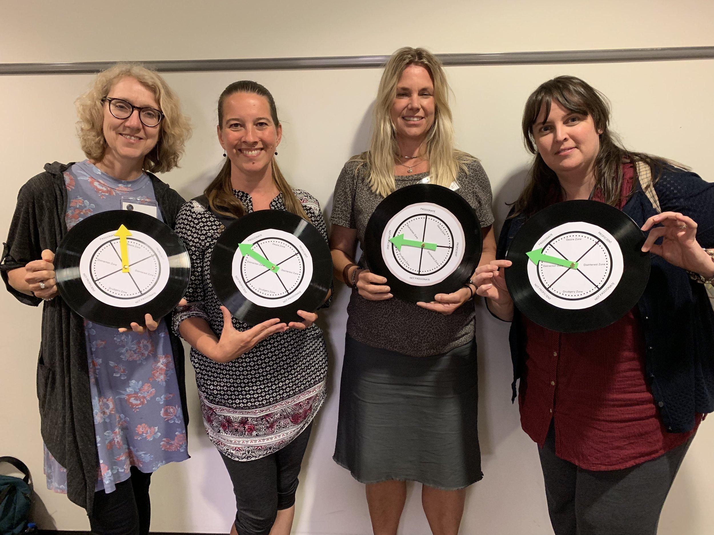 88 Creative Keys workshop teachers showcasing their freedom compasses.
