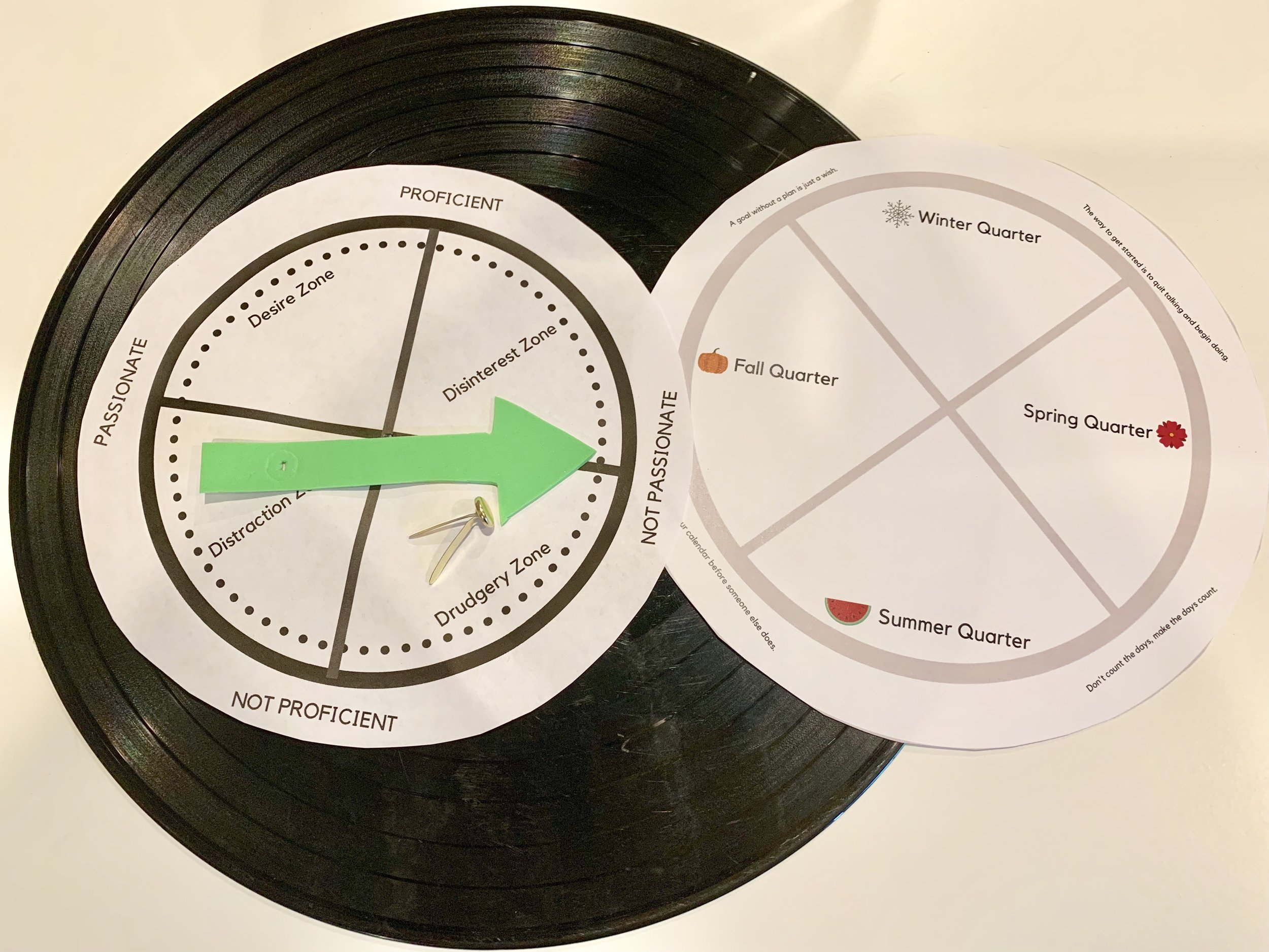 Find an old record, cut out the circles and write in the tasks that fit in each zone, cut an arrow from foam paper poke a hole through the center of each circle and arrow and fasten all of them to the record with a brad.