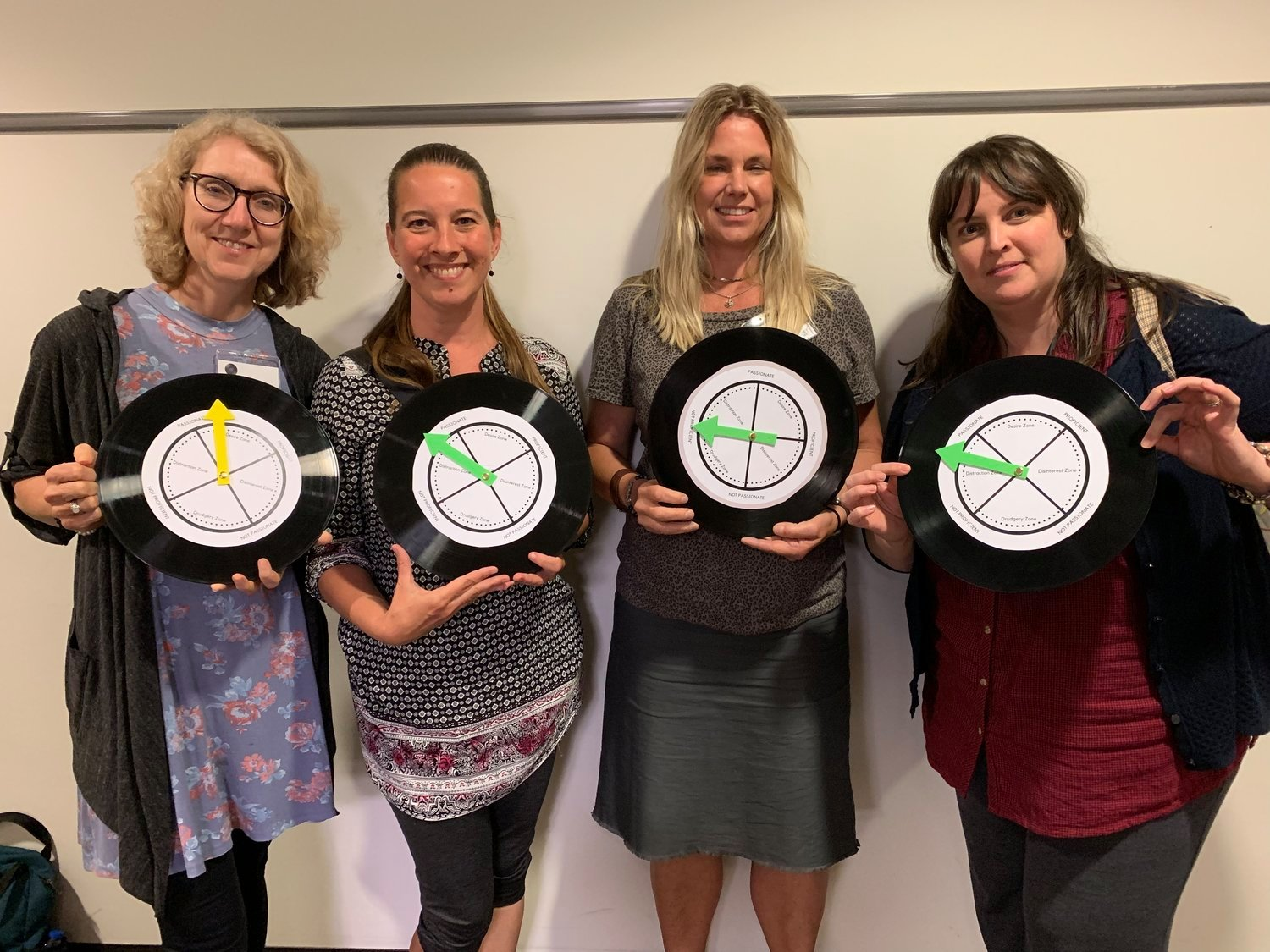 88CK teachers showing where their freedom compasses are pointing—inspired by the book, Free to Focus by Michael Hyatt.