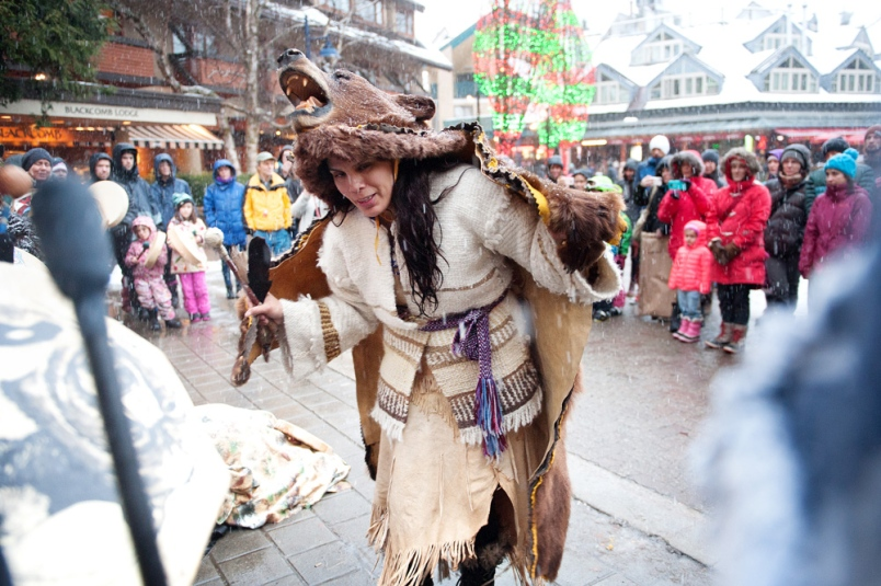 Jackie Andrew does a Bear Dance in Whistler Village as part of her send off before she travels to join Standing Rock water protectors in North Dakota. Photo by DAVID BUZZARD/ WWW.MEDIA-CENTRE.CA