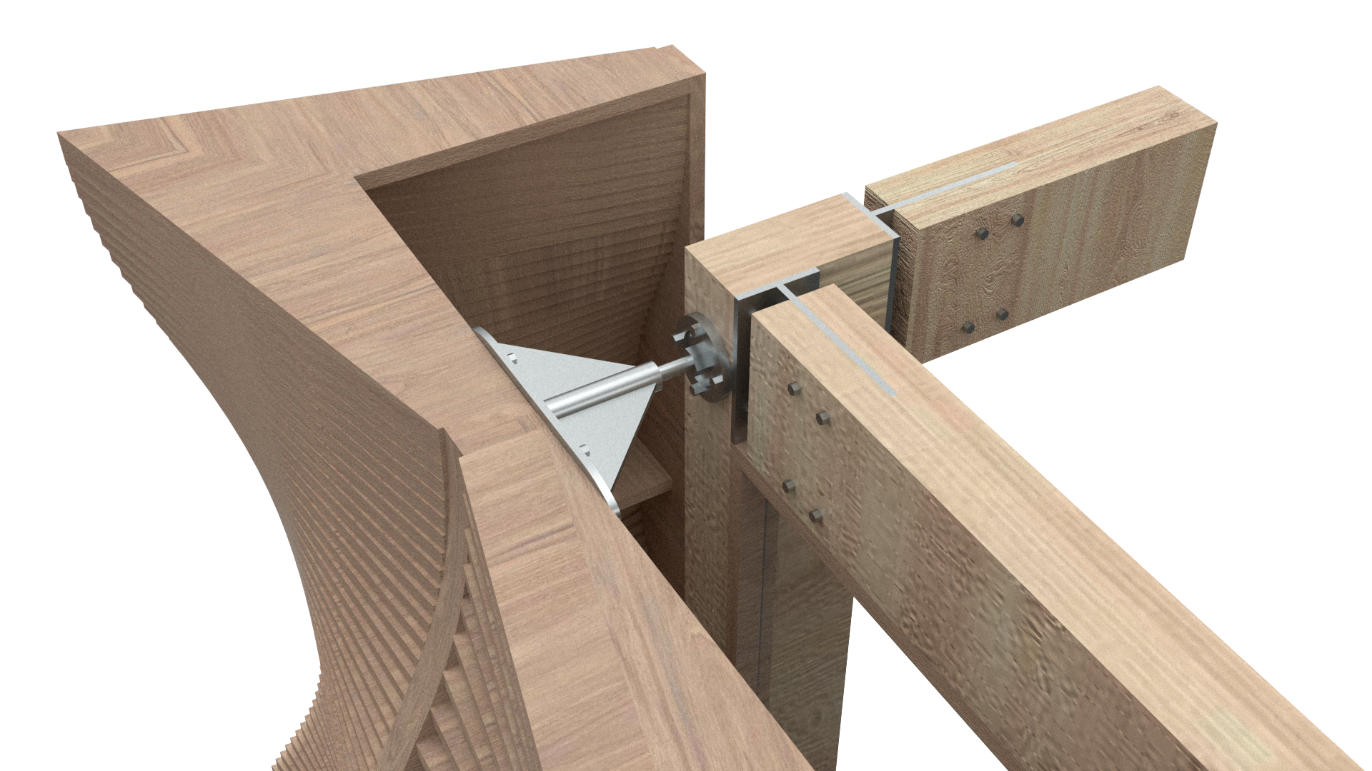 This rendering shows how the wall is connected to the glulam frame system. Custom steel brackets could be screwed into plates that attach to each side of the wall system.