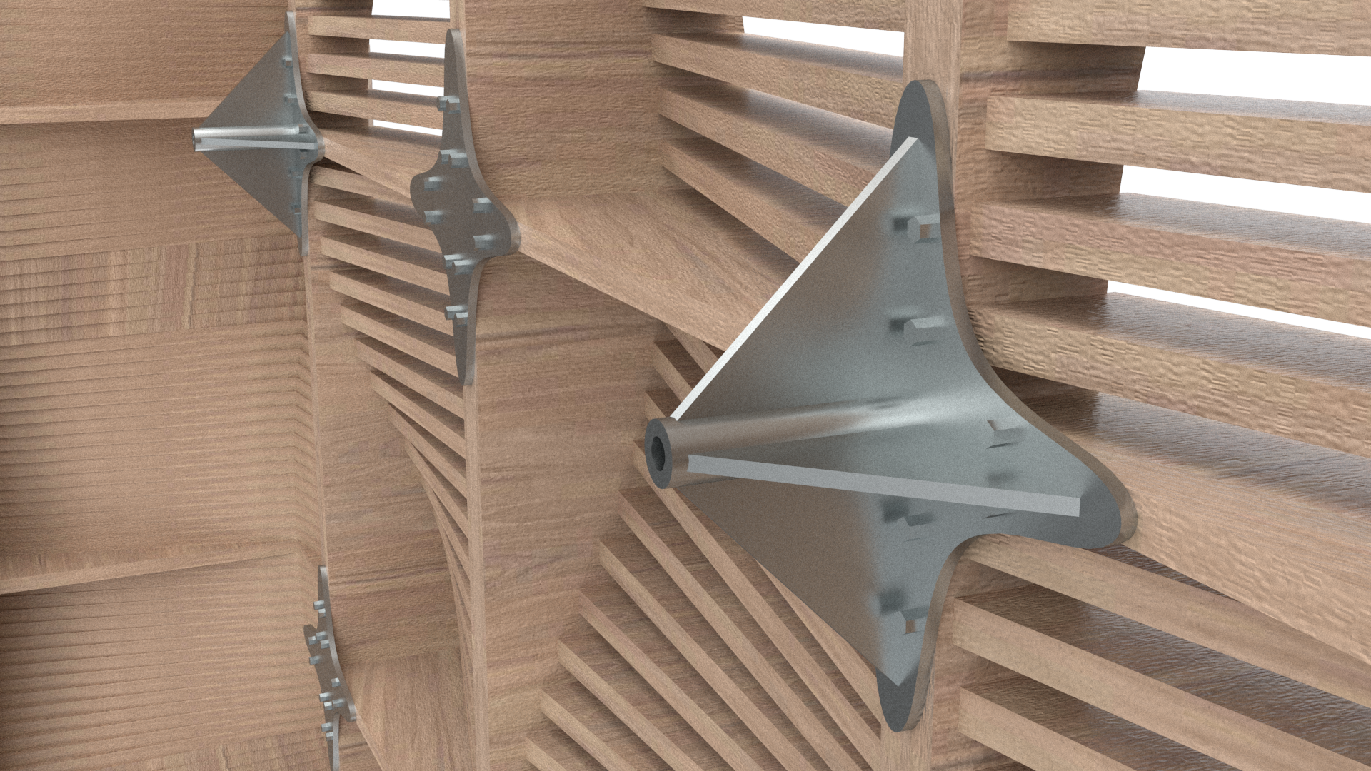 Detailed look at the connections between panels and the support system. These both provide support in between wall modules and attach to the structural supports.
