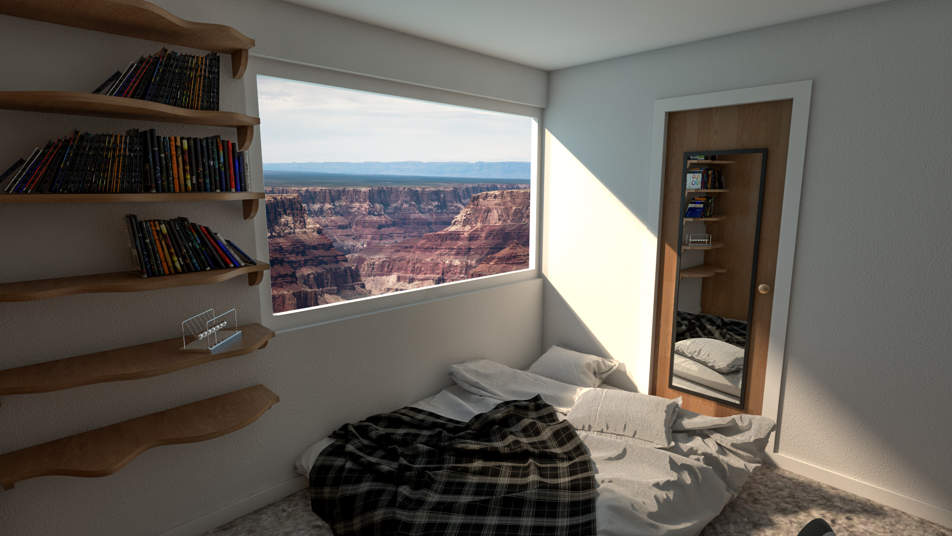 Added A larger window and shelving unit, and changed the location of the room to overlook the Grand Canyon. The undulating shelving unit was cut from a randomized polysurface.