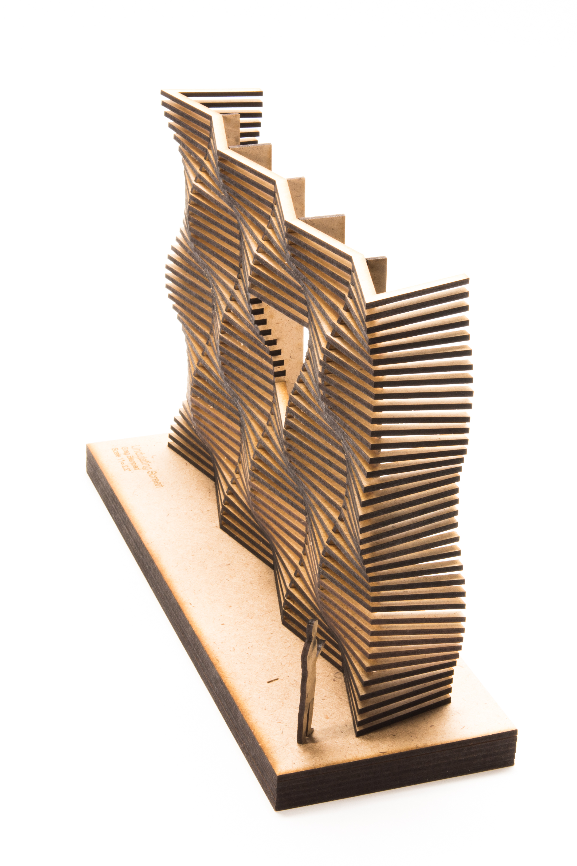 This model highlights the unique visual effect that is achieved through the undulating pattern.