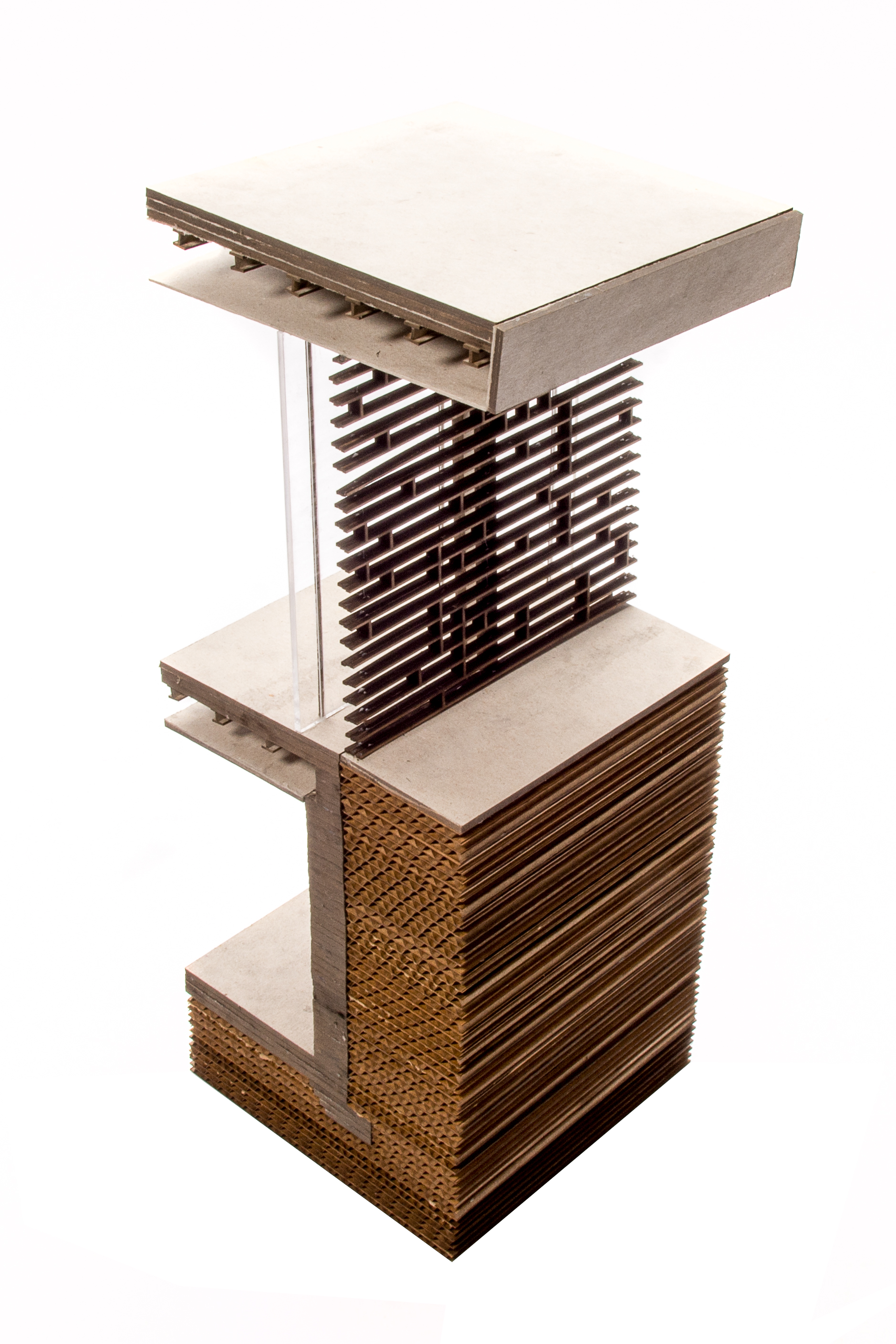 Wall section model showing steel framing and screen design