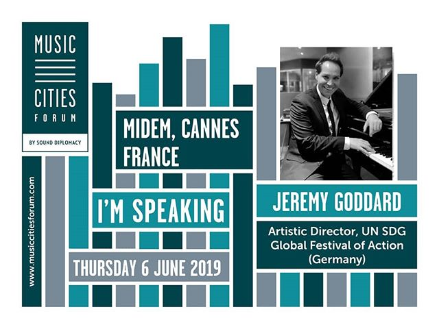 Looking forward to speaking tomorrow morning at MIDEM in Cannes.  In Cannes until Sunday. I would love to catch up with any of you who are down there too.  Panel: Music, Urban Affairs and the Sustainable Development Goals  Panel date: 6 June 2019  Time: 10:40am - 11:30am  Location: Worldwide Village conference room (Palais 3), Palais des Festivals, Cannes  #MusicCitiesForum #MusicCitiesCannes,  @MusicCitiesSD