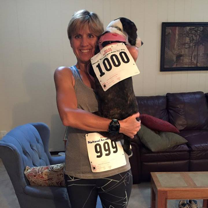 """Julie with her pup, Gracie- celebrating National """"Run with your Dog Day"""""""