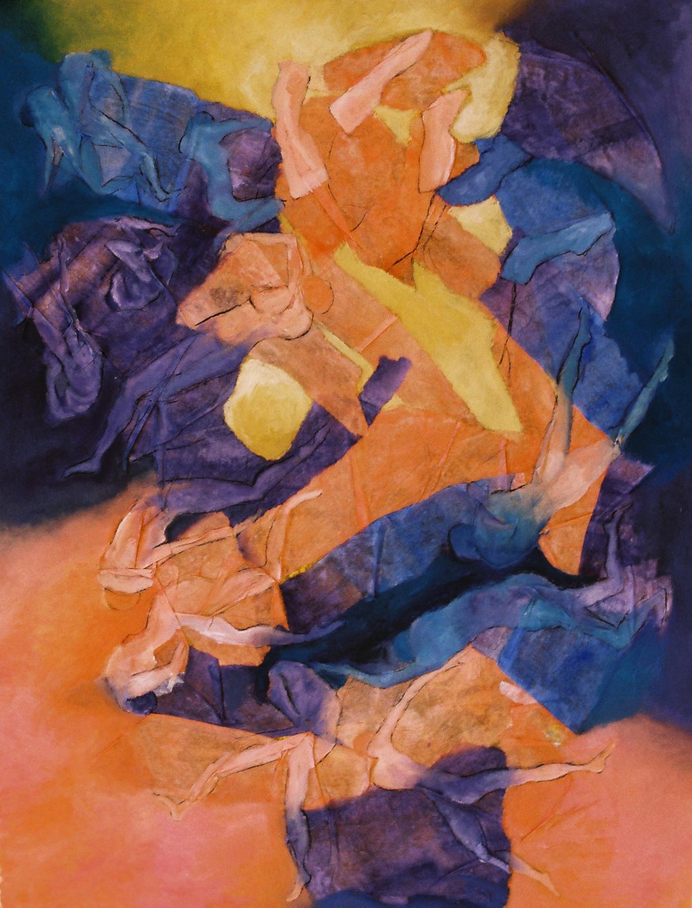 Con el cuerpo de la razón, con el alma de la poesía - Óleo sobre papel - 65 x 50 cm