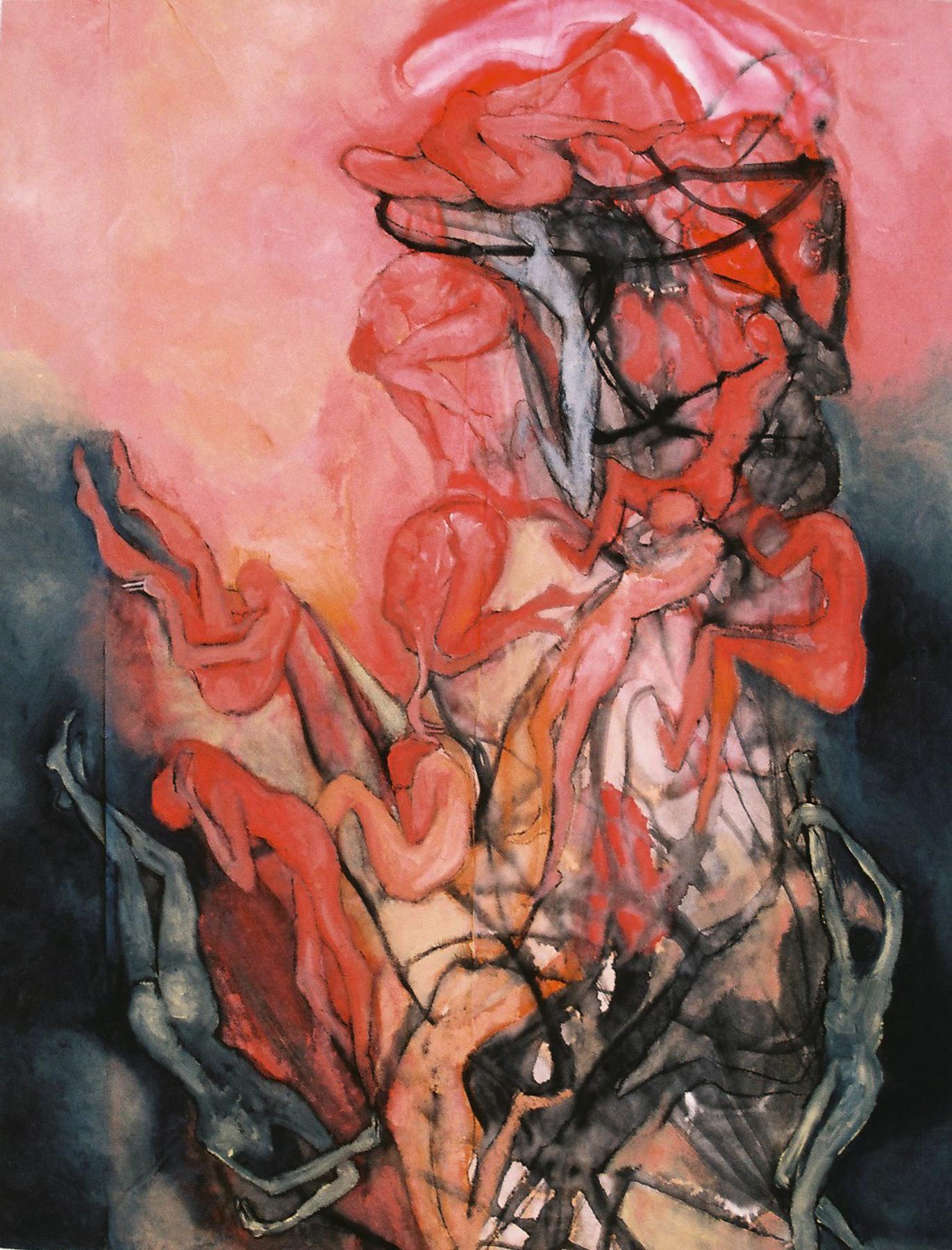 Los oscuros tumultos de la existencia - Óleo sobre papel - 65 x 50 cm