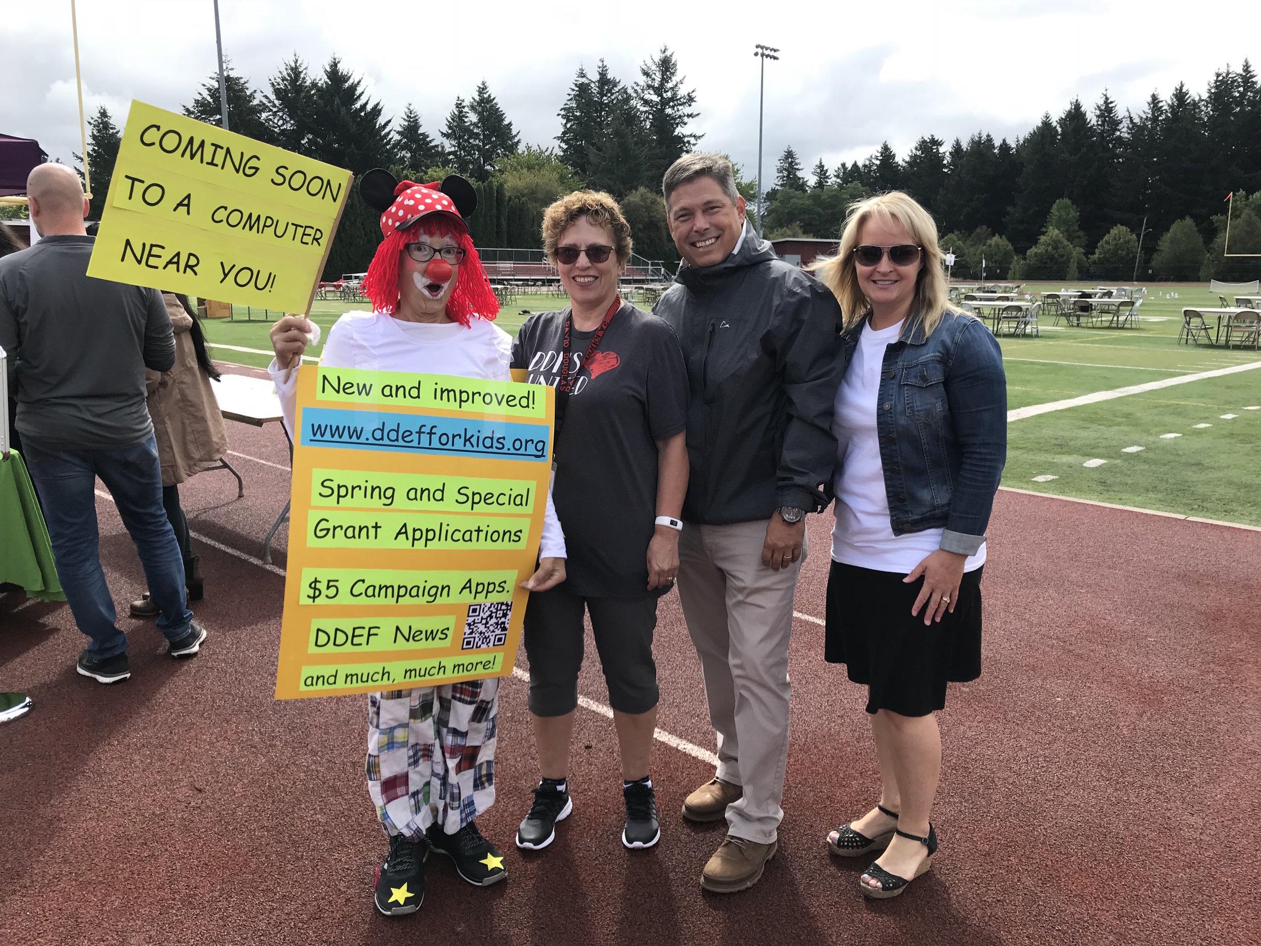 Beverly Fischer (DDEF President), Freida Christopher (DDEF Treasurer), Ken Richardson (Superintendent), Candy Wallace (Assistant Superintendent)