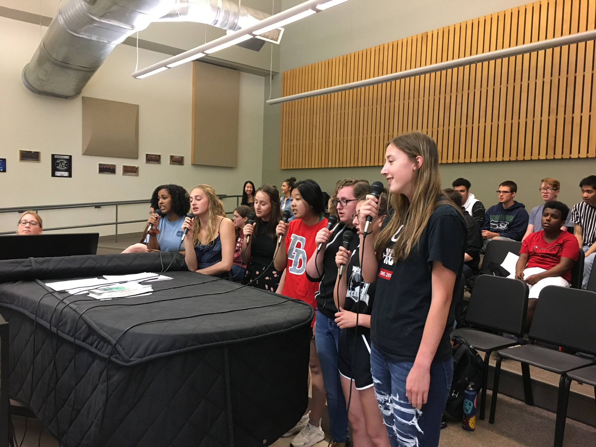 DDHS Choir students using their new recording equipment