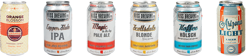 Huss Family of Beers - Orange Blossom, Copper State, Magic in the Ivy, Scottsdale Blonde, Koffee Kolsch, Arizona Light
