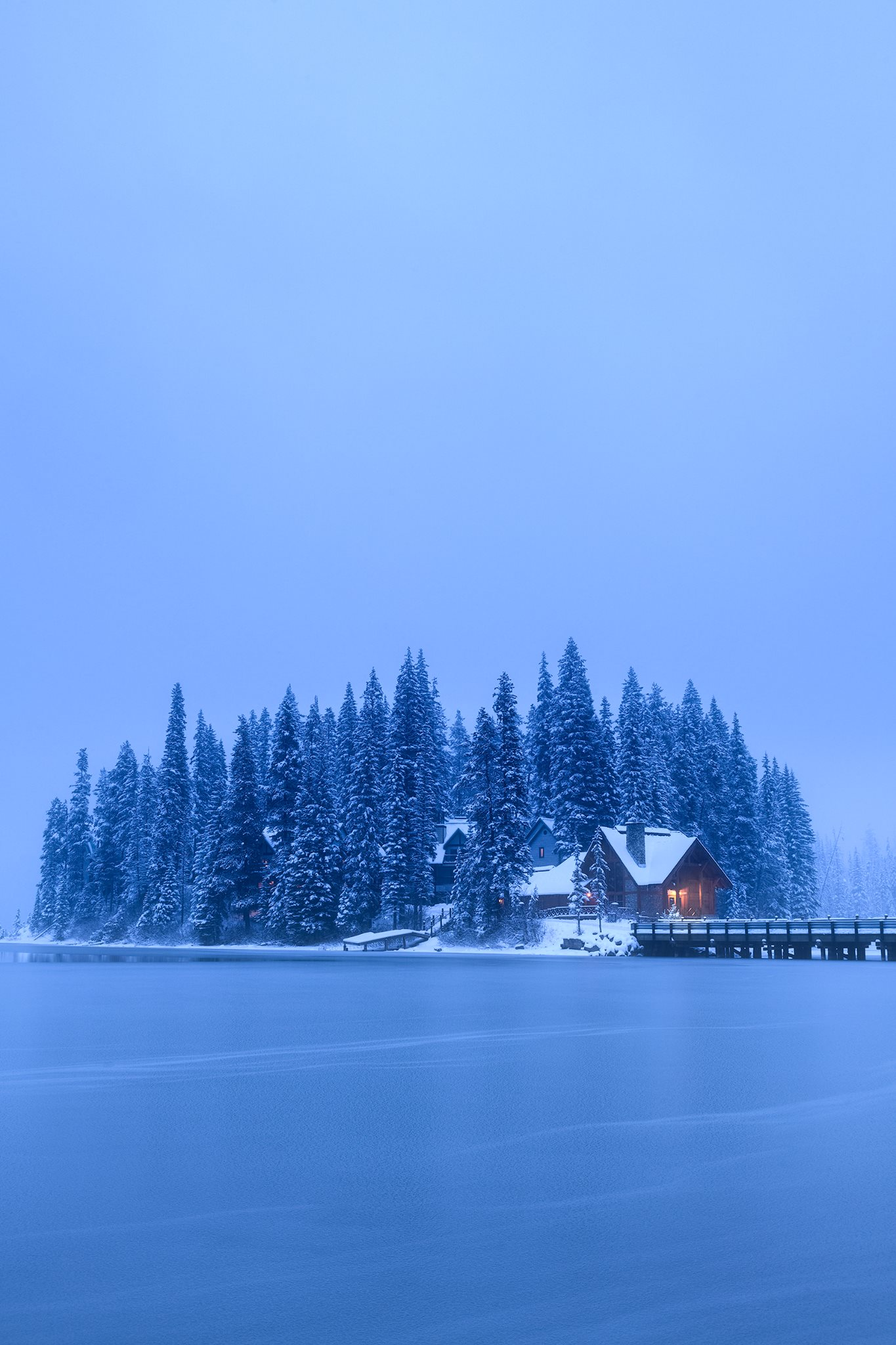 Emerald Lake in British Columbia after a day of heavy snowfall.  Nikon Z7 | Nikon 24-70mm