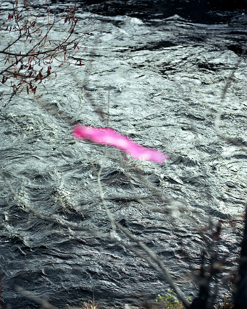 "10. Untitled (pink tape and Saranac River). Inkjet print. 16"" X 20"".  2017."