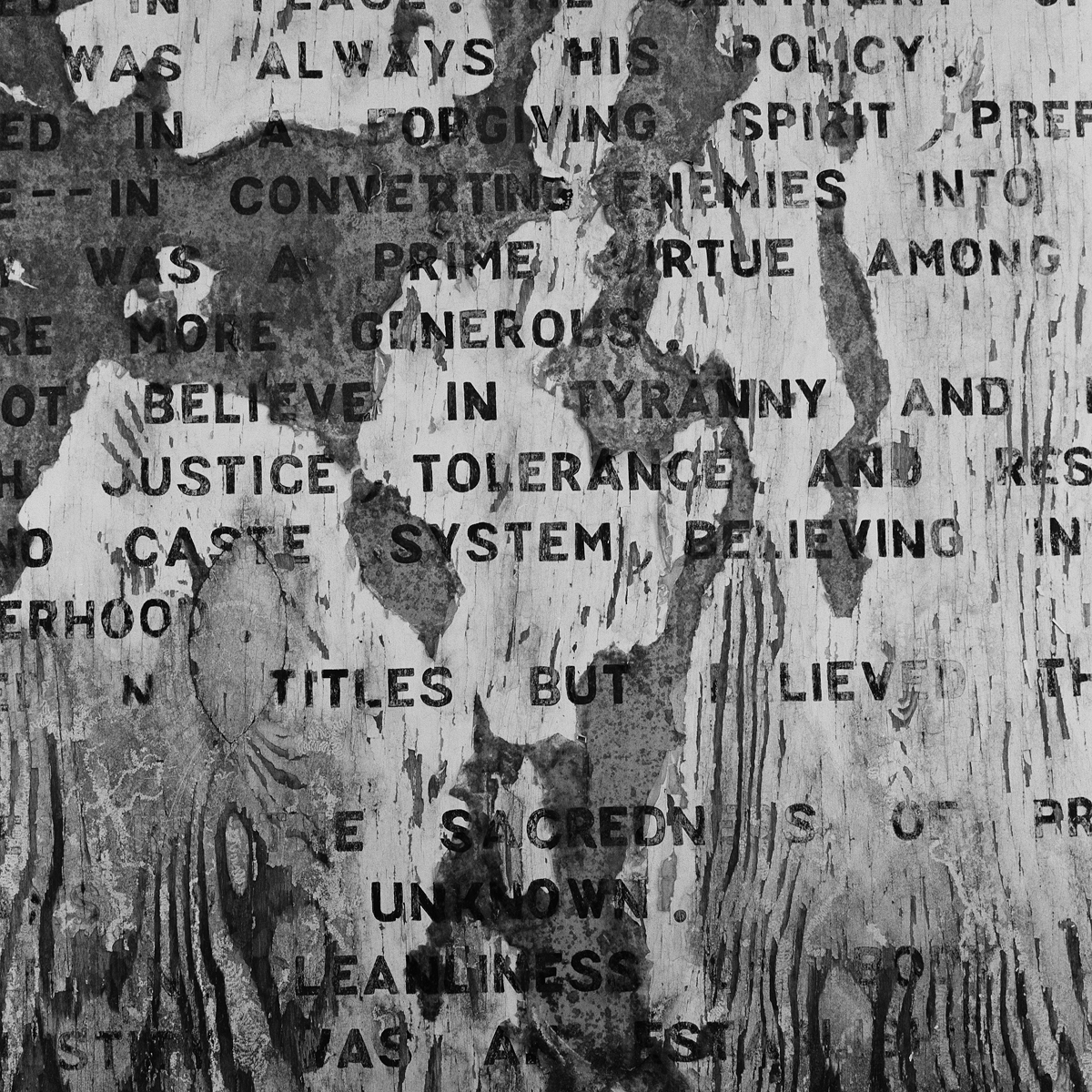 1. Iroquois Creed, Six Nations Museum, Onchiota, NY. 1998. Toned Gelatin Silver Print.