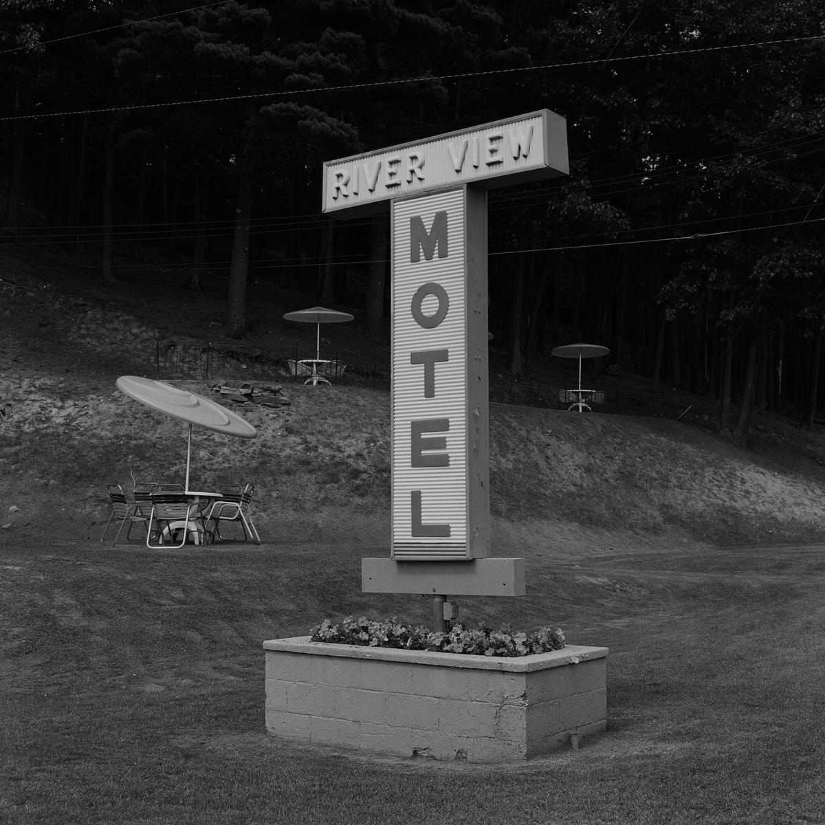 18. Motel Sign, Keeseville, NY, 2000. Toned Gelatin Silver Print.