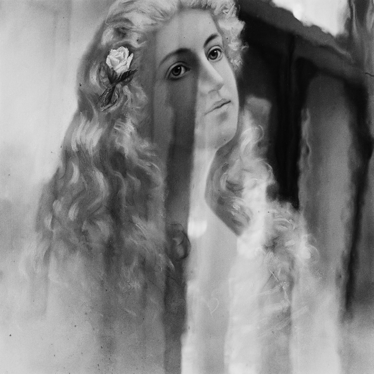 """6. Spirit Painting of Leolyn Pettengill, Maplewood Hotel. Lily Dale. 1996. Toned Gelatin Silver Print. 15""""X15""""."""