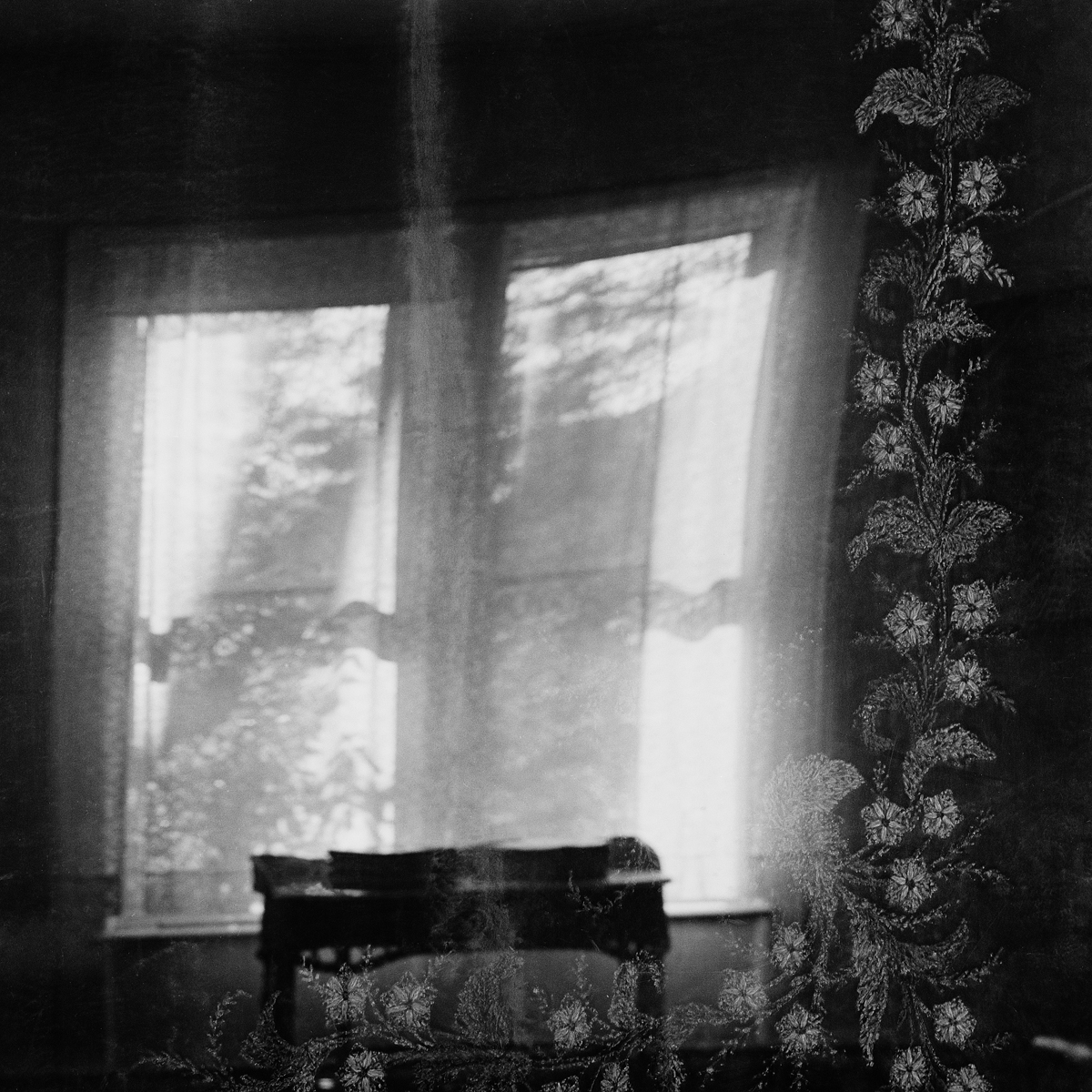 "10. Portieres and Window Reflection, Maplewood Hotel. Lily Dale. 1996Toned Gelatin Silver Print. 15""X15""."
