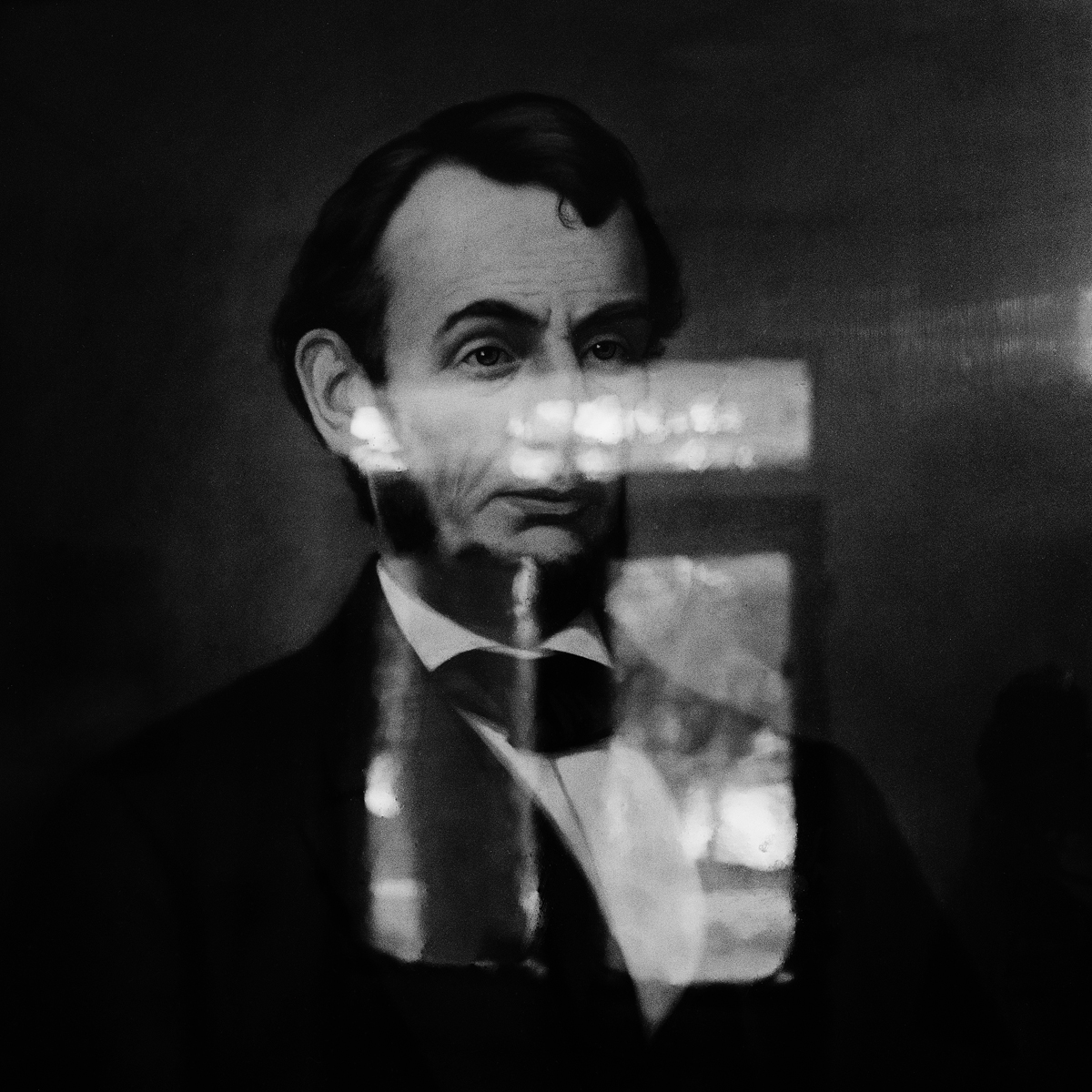"""23. Spirit Painting of Lincoln, Maplewood Hotel. Lily Dale. 1994. Toned Gelatin Silver Print. 15""""X15""""."""