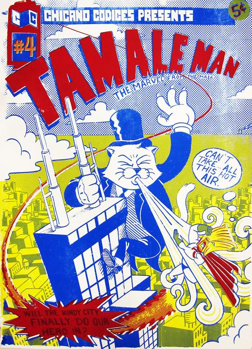 """TamaleMan #4   Silk Screen, printed at Ill Wind Press. 22""""x30"""""""