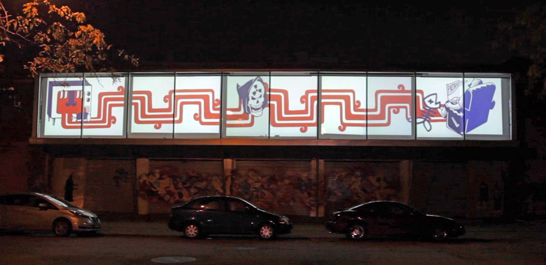 Patriotic Vomit   Exterior of HPAC Photo and Video footage by Silvia Gonzalez