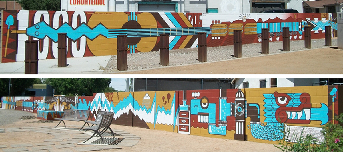 El Ritmo del Agua  Gateway Park Mural. Corner of Isleta and Bridge, Albuquerque, NM. A collaboration with Working Classroom, Bernalillo County and the National Museum of Mexican Art. 15'h x 75'w