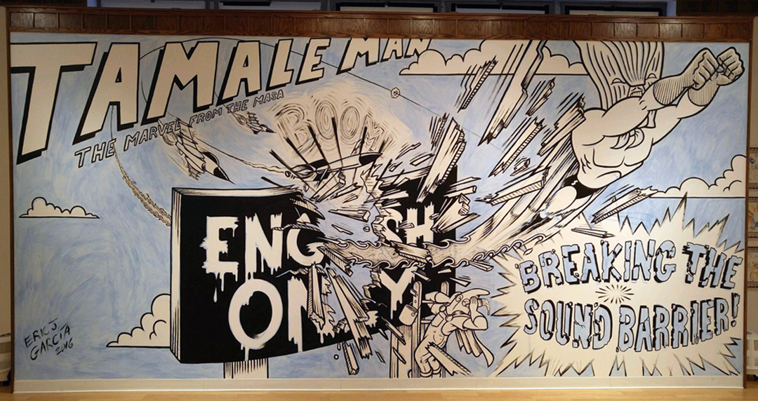Tamale Man: Breaking the Sound Barrier   Acrylic on wall. W21' x H10' St Ambrose University, 2016.