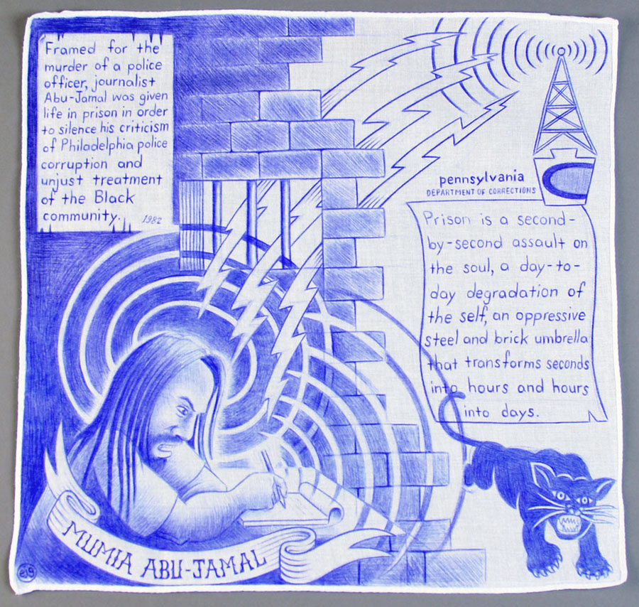 "Paño: Political Prisoner series, Mumia Abu-Jamal   Ball point pen on handkerchief. 14"" x 14"""