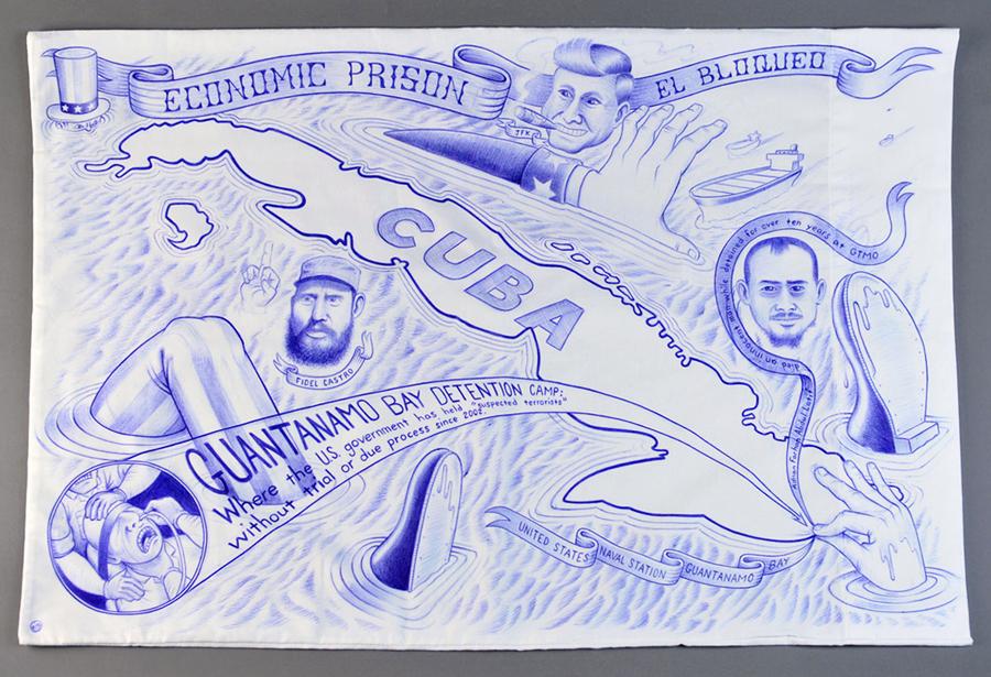 "Paño: Political Prisoner Series, Cuba/Guantanamo   Ball point pen on pillow case. 30"" x 20"""