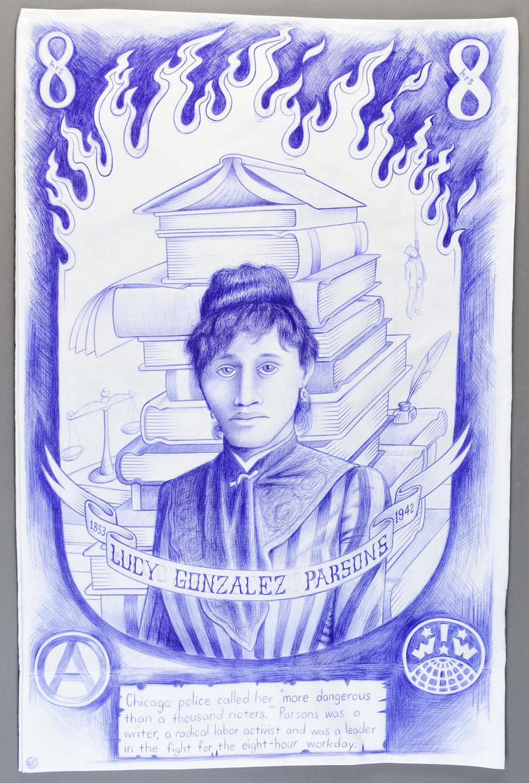 "Paño: Political Prisoner Series, Lucy Gonzales Parsons   Ball point pen on pillow case. 30"" x 20"""