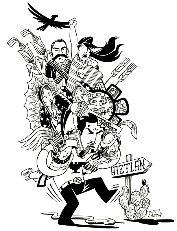 """Chicano Bagage   Pen and ink on paper. Book cover for """"Legacies of the Chicano Movement"""" from University of Arkansas Press. 10"""" x 11"""""""