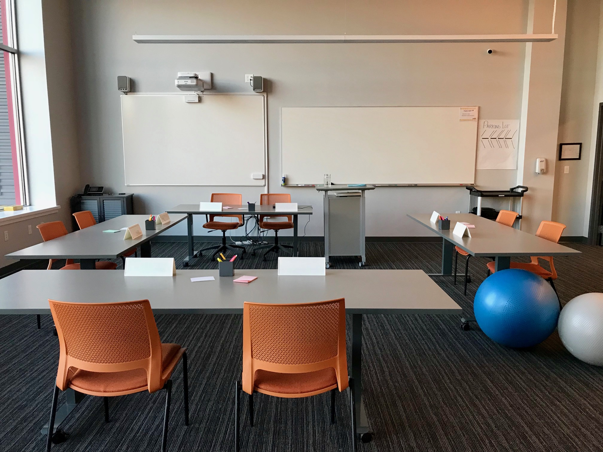 Our Space - We currently meet in the space pictured here. The space is very open & bright with the option to dim the lighting located on the wall (as opposed to overhead). Alternative seating such as exercise balls and bean bags are provided for members to enjoy.