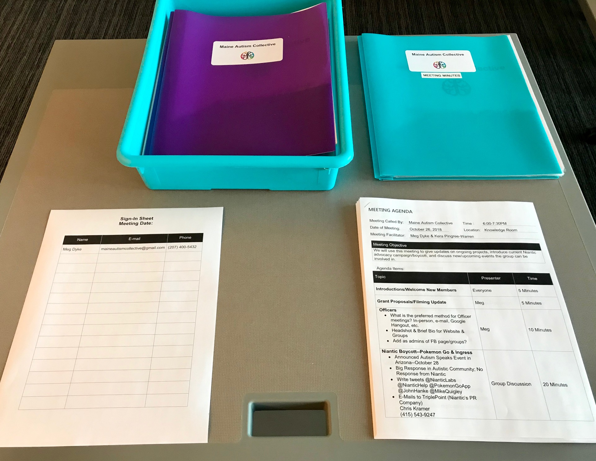 Materials for Members - The agenda for the current meeting is available for all attendees in addition to a copy of all past meeting minutes for review. Member folders complete with our meeting schedule, group information & code of conduct are also set out with these materials and our sign-in sheet near the entrance for easy access.