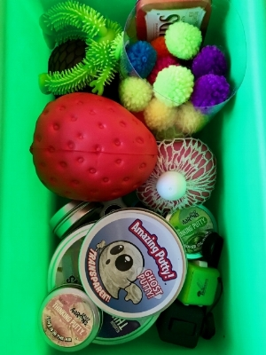 Sensory Toys - There is a bucket of fun sensory toys to share including fidget cubes, squishies, slime & more!