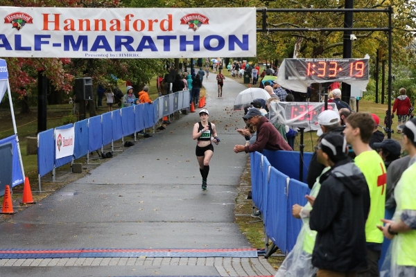 Finish line of the Mohawk-Hudson Hannaford Half--new PR of 1:33:20!