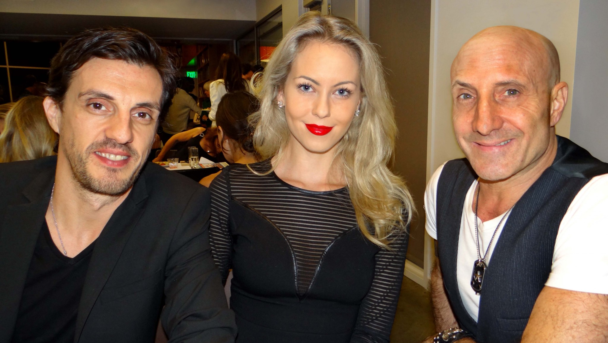 Actor Ian Fisher, Model Katherine Kohl Thorbak and Drummer Kenny Aronoff at the Bring Hollywood Home Network Concert Celebration dinner.