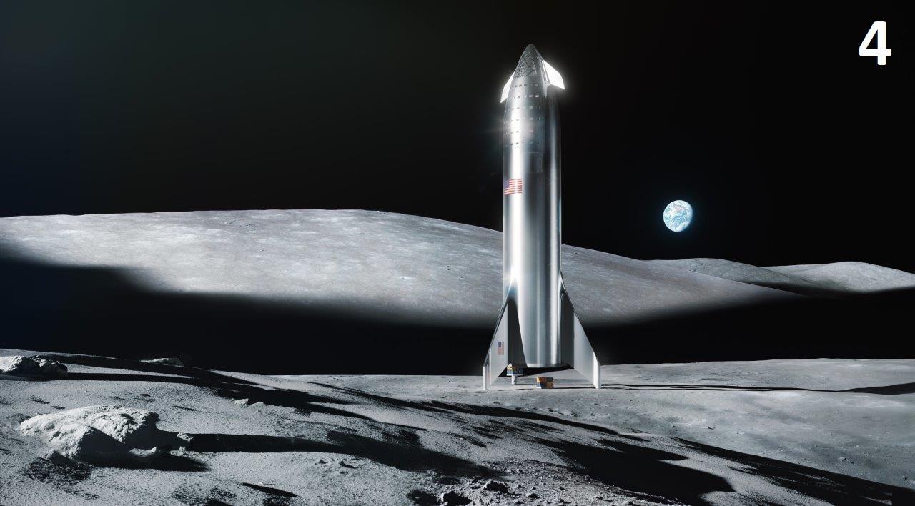 Starship on the Moon by  Elon Musk .