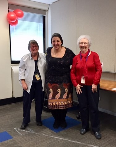 Monica Doumit with Helen Cook and President Margaret Blomfield. Photo by Annie Wong.