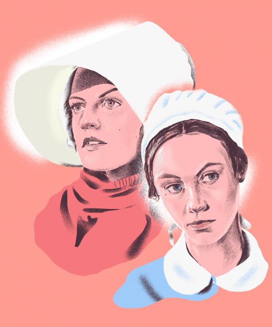 Elisabeth Moss of  The Handmaid's Tale  & Sarah Gadon of  Alias Grace  Illustrated by Richard Chance