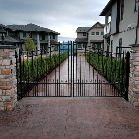 Custom ornamental double swing gates
